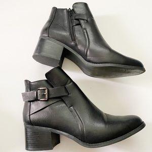 MIA Black Buckle ankle booties